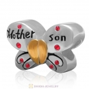 1 Pair Sterling Silver Gold Plated Mother Son Butterfly Bead with Lt Siam Austrian Crystal