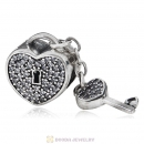 Sterling Silver Locks of Love Charm with Clear CZ Stone