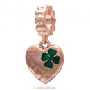 925 Sterling Silver Rose Gold Charm Lucky Clover Heart Dangle Bead
