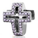 Violet Crystal Pave Christian Cross Charm 925 Sterling Silver