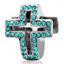 Blue Zircon Crystal Pave Christian Cross Charm 925 Sterling Silver
