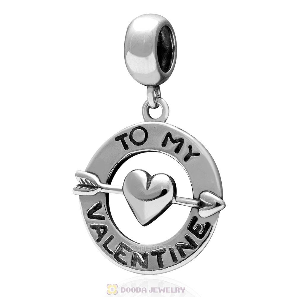 925 Sterling Silver To My Valentine with Heart Love Dangle Bead Pendant