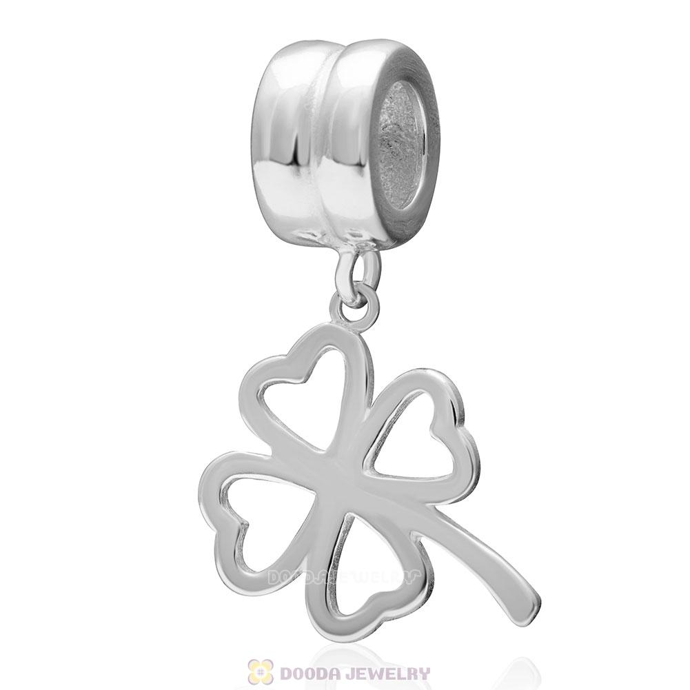 925 Sterling Silver Lucky Four-leaf Clover Dangle Pendant