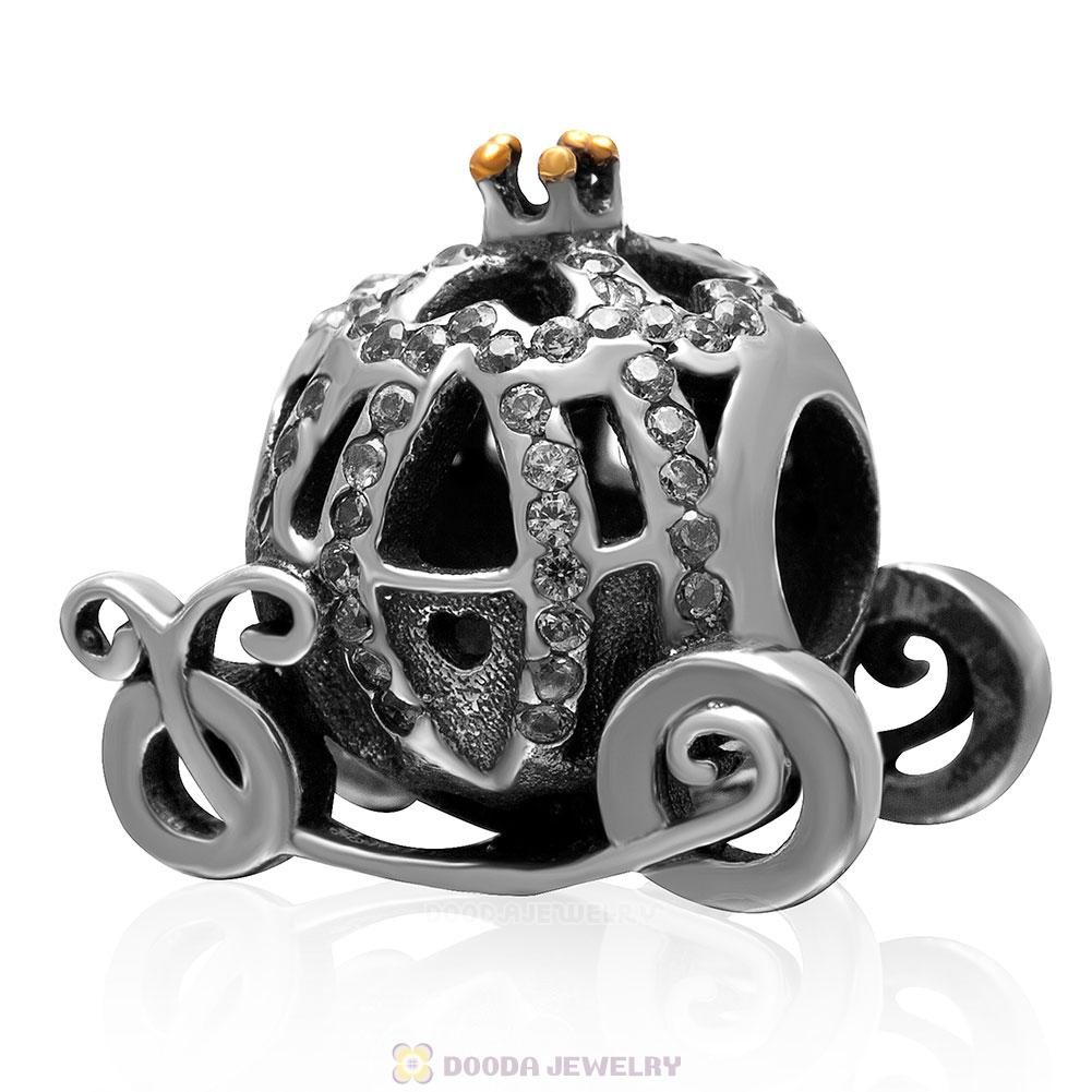 925 Sterling Silver Sparkling Pumpkin Coach Charm with Clear Cz