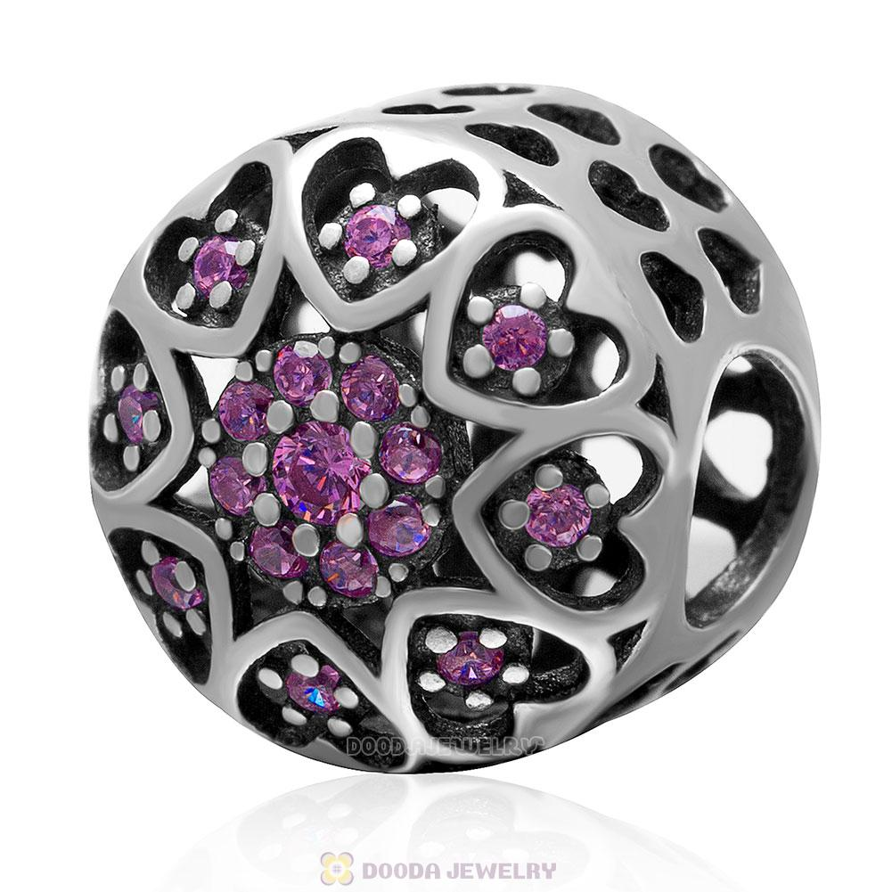 925 Sterling Silver Openwork Love Heart Charm Bead with Pink Cz