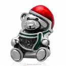 925 Sterling Silver Christmas Bear Wearing Red Hat Charm Bead