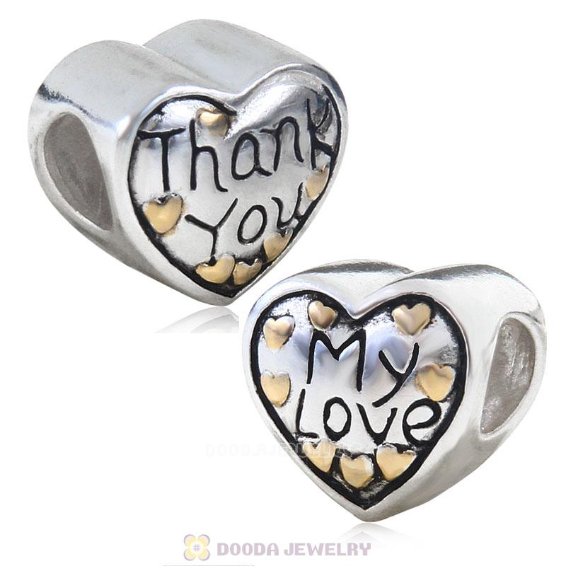 925 Sterling Silver Gold Plated Thank You My Love Bead