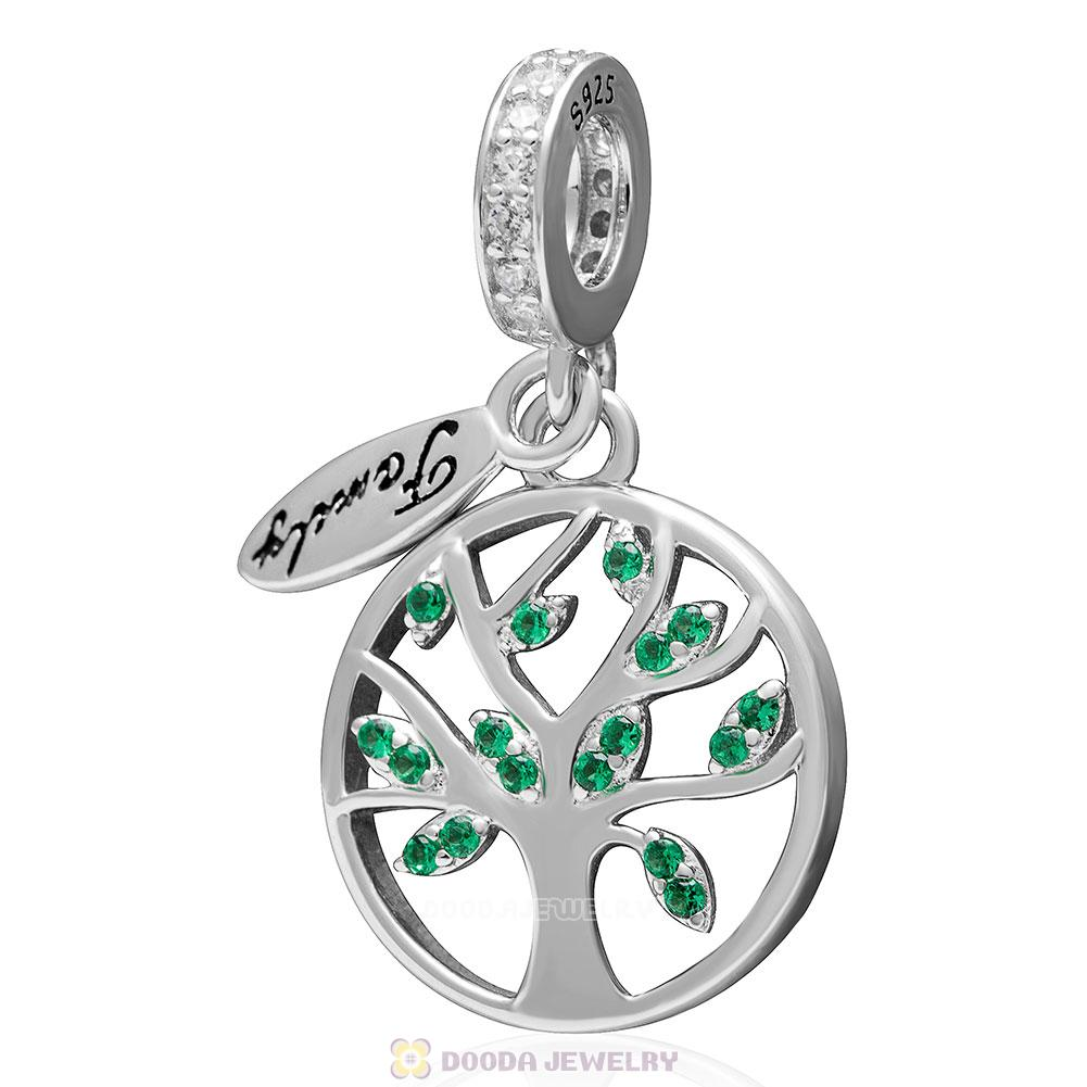 925 Sterling Silver Family Tree Dangle with Green CZ Charm