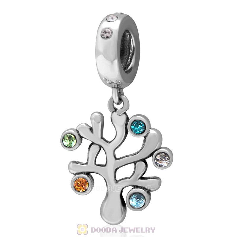 925 Sterling Silver Family Tree Dangle Charm with Colorful Austrian Crystal