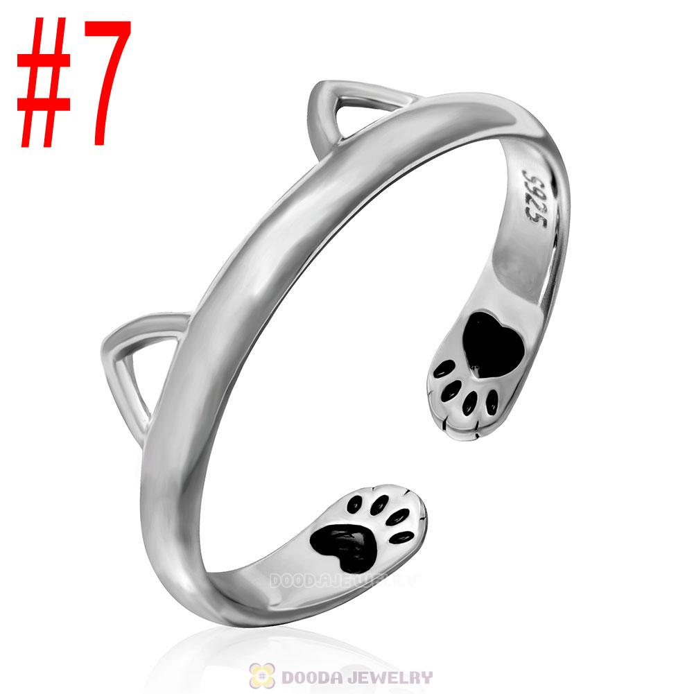 European 925 Sterling Silver Cute Cat Open Adjustable Rings