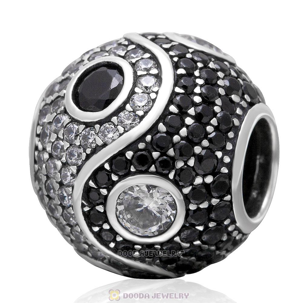 925 Sterling Silver Pave Yin Yang Charm Bead with Black and White Stone