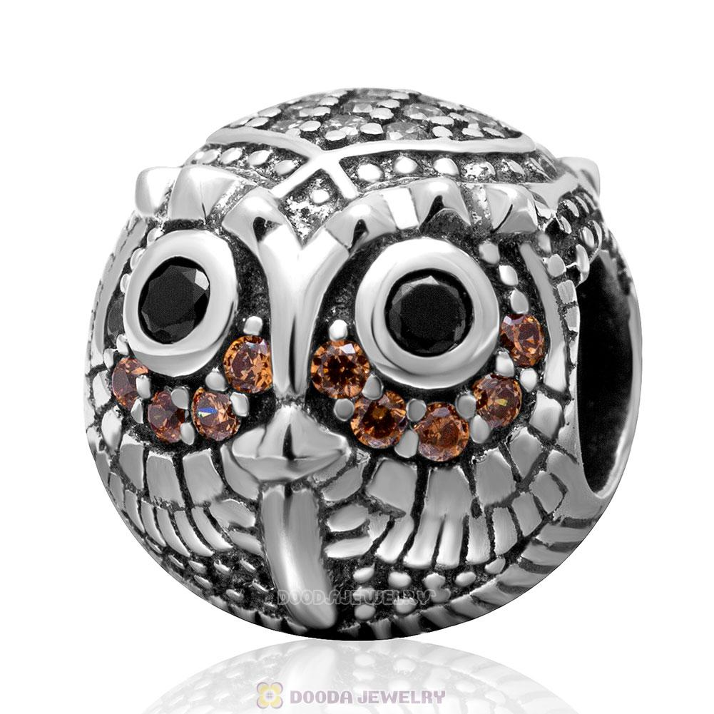 925 Sterling Silver Wise Owl Stone Charm Bead