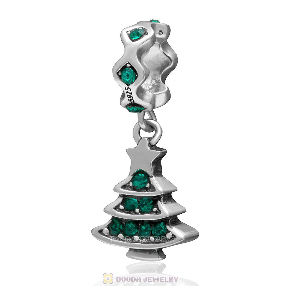 925 Sterling Silver Merry Christmas Tree Dangle Charm with Emerald Crystal
