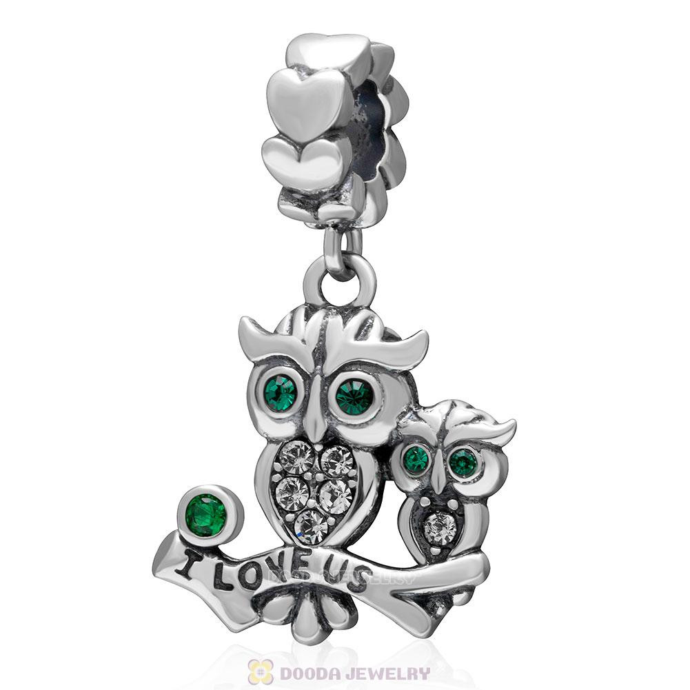 925 Sterling Silver I Love Us Owl Dangle Charm Bead with Emerald Crystal