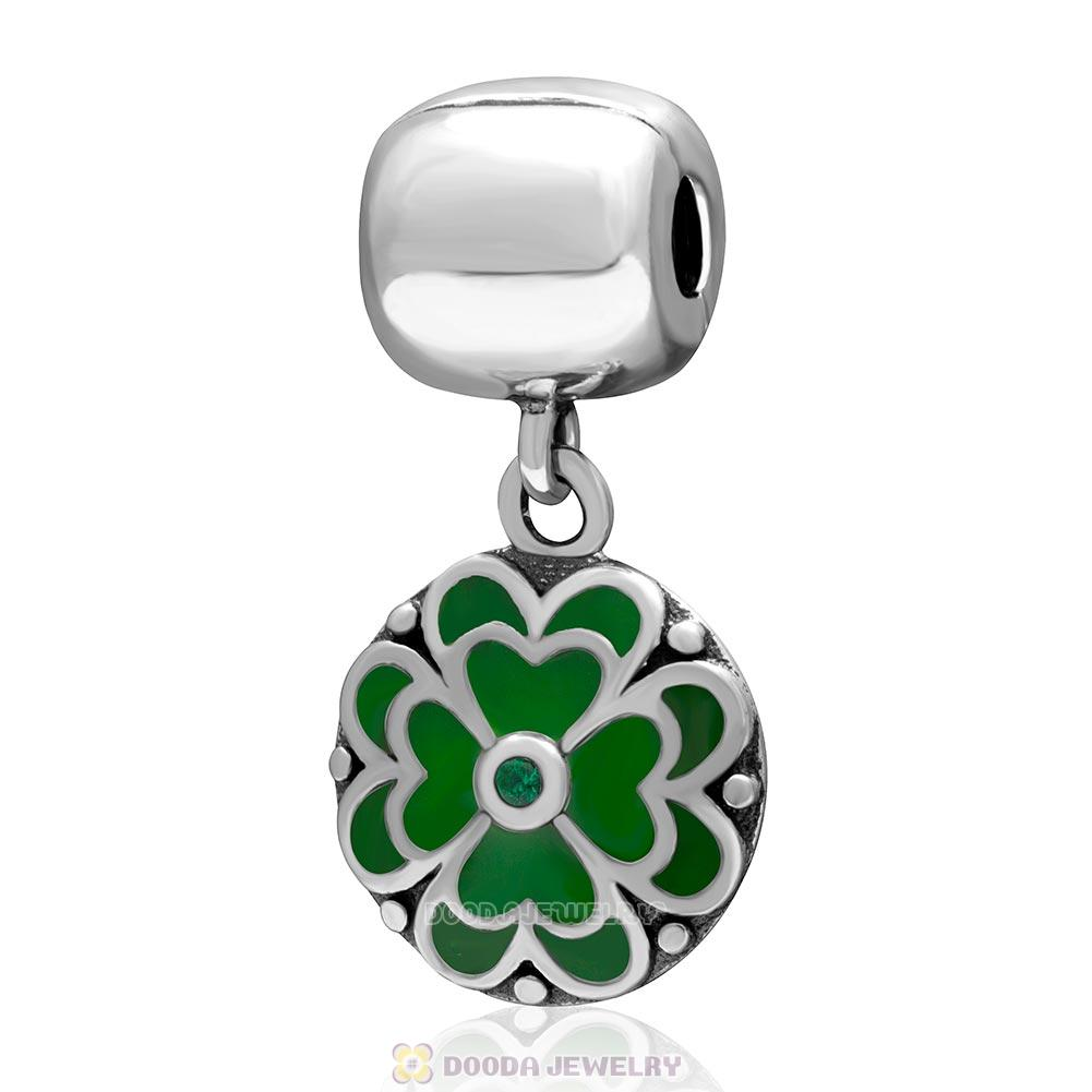925 Sterling Silve Green Enamel Clover Dangle Clip Bead with Green CZ