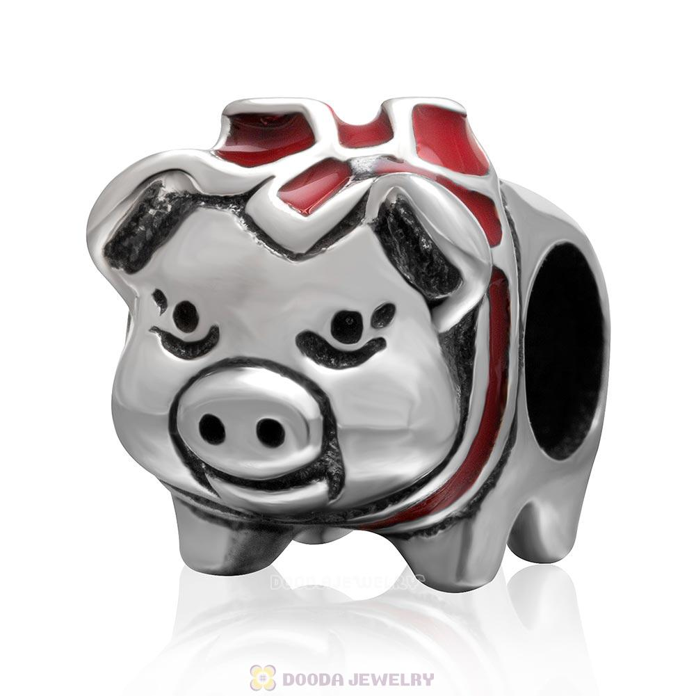 925 Sterling Silver Cute Pig with Red Bow Charm Bead
