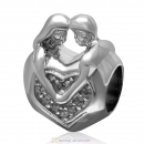 925 Sterling Silver Lover Couple Hug Each Other Charm with Clear Stone