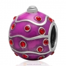 925 Sterling Silver Merry Christmas Ball Enamel Charm Bead with Lt Siam Crystal