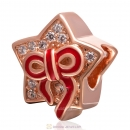 925 Sterling Silver Red Bow Rose Gold Star Charm Bead with Clear Stone