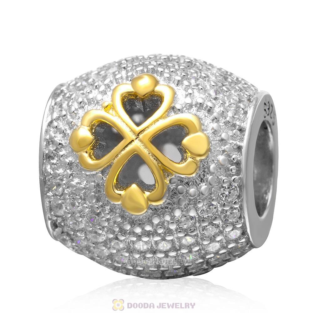 925 Sterling Silver Gold Plated Four Leaf Clover with Pave Clear Stone Charm Bead
