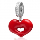 925 Sterling Silver Red Lip Love Kiss Dangle Heart Charm