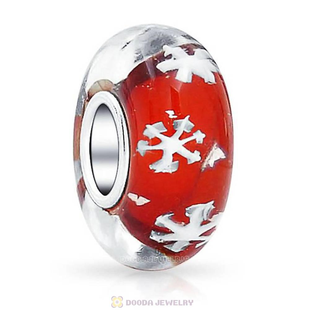 Red Snowflake Glass Beads with Silver Shatter fit European Largehole Jewelry Bracelet