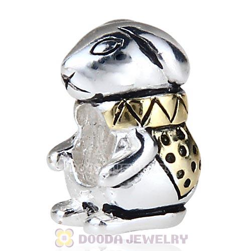 Gold Plated Sterling Silver European Style Bunny King Beads Wholesale