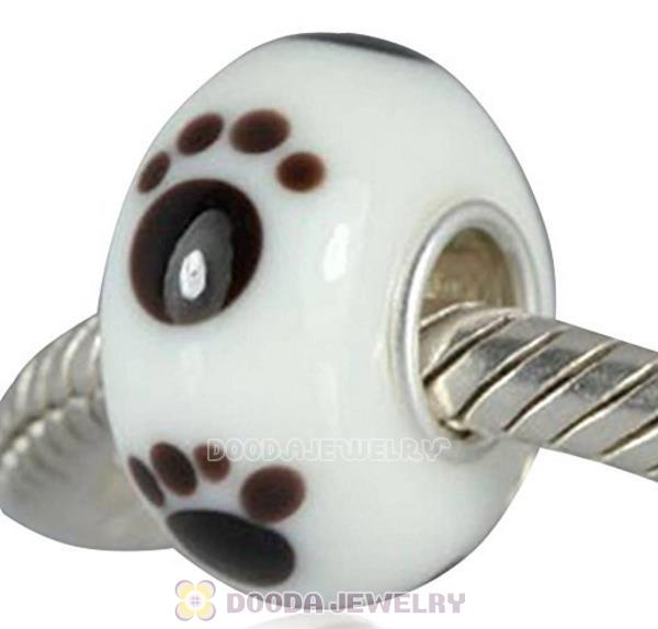 Environmental Murano Baby Foot Print Glass Paw Beads with 925 sterling silver single core