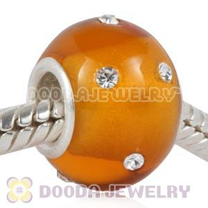Kerastyle Silver Polished Glass Topaz Bead with Austrian crystal Accents suit European Bracelet