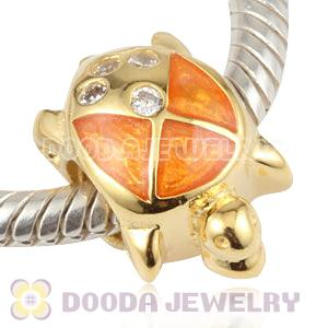 Gold Plated Enamel Tortoise Silver Beads with CZ Stone European Compatible