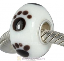 Environmental lampwork glass footprint paw beads 925 sterling silver core suit European style jewelry