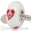 Painted Red Heart Murano Glass Beads 925 Sterling Silver European Compatible