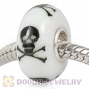 Painted Macabre Skull Crossbones Murano Glass Beads 925 Sterling Silver European Compatible