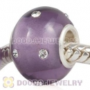 Kerastyle Silver Polished Glass Purple Bead with Austrian crystal Accents suit European Bracelet