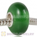 Green Murano Glass Cat Eye Bead 925 silver core suit European Largehole Jewelry Bracelet