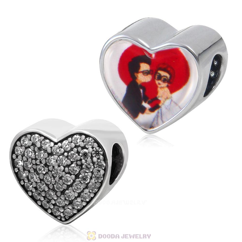 Lover Kiss 925 Sterling Silver Love Heart Personalized Photo Charm Bead with Clear CZ