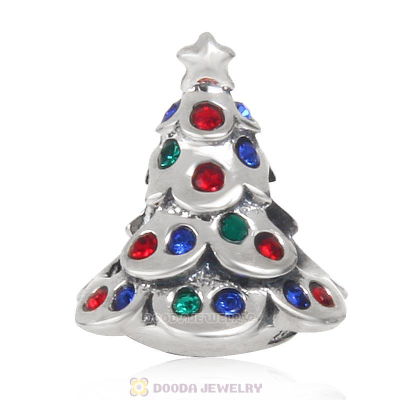925 Sterling Silver Festive Christmas Tree Bead with Colorful Crystal