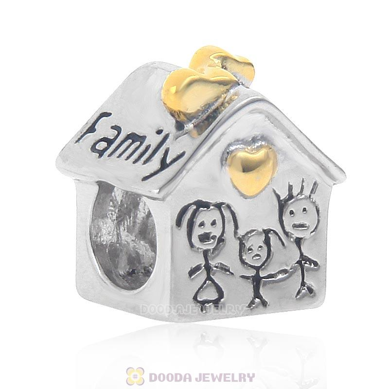 925 Sterling Silver Family House Charm with Gold Plated Heart
