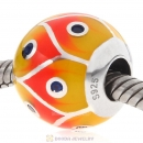 European Style Round Ball Bead 925 Sterling Silver with Enamel