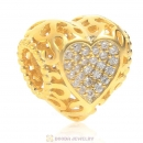 Gold Plated 925 Sterling Silver Love Charm with Clear CZ
