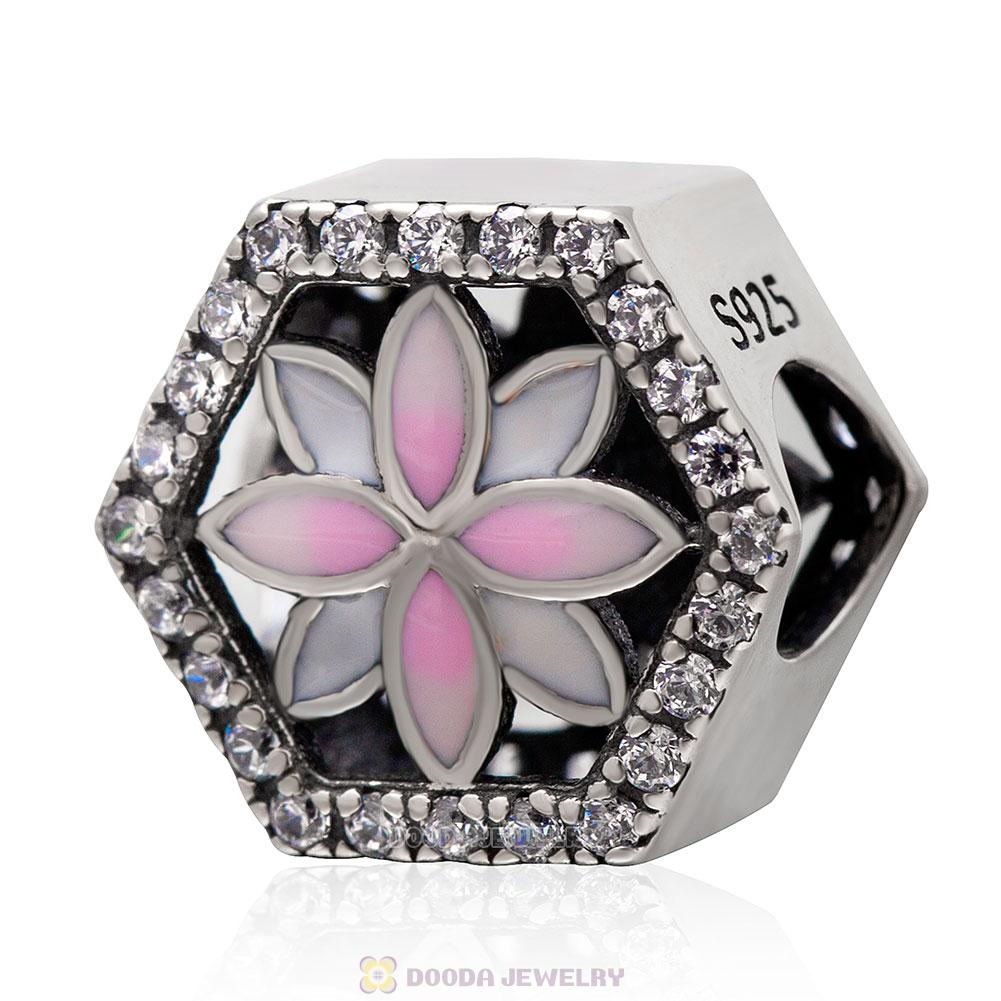Pink Enamel Flower Charm Bead with Clear CZ
