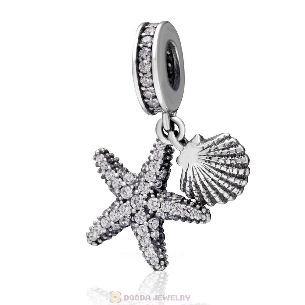 Tropical Starfish and Sea Shell Charms with Clear CZ