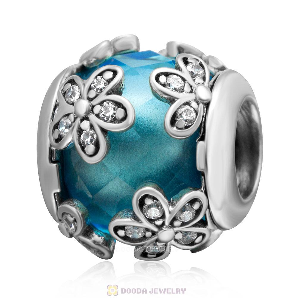 Dazzling Daisy Flower Charm Lt Blue Crystal and Clear CZ