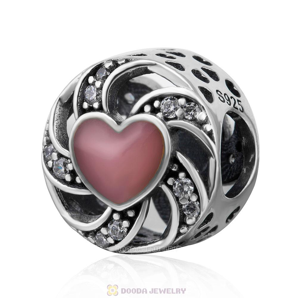 Ribbon Heart Charm Pink Enamel and Clear CZ