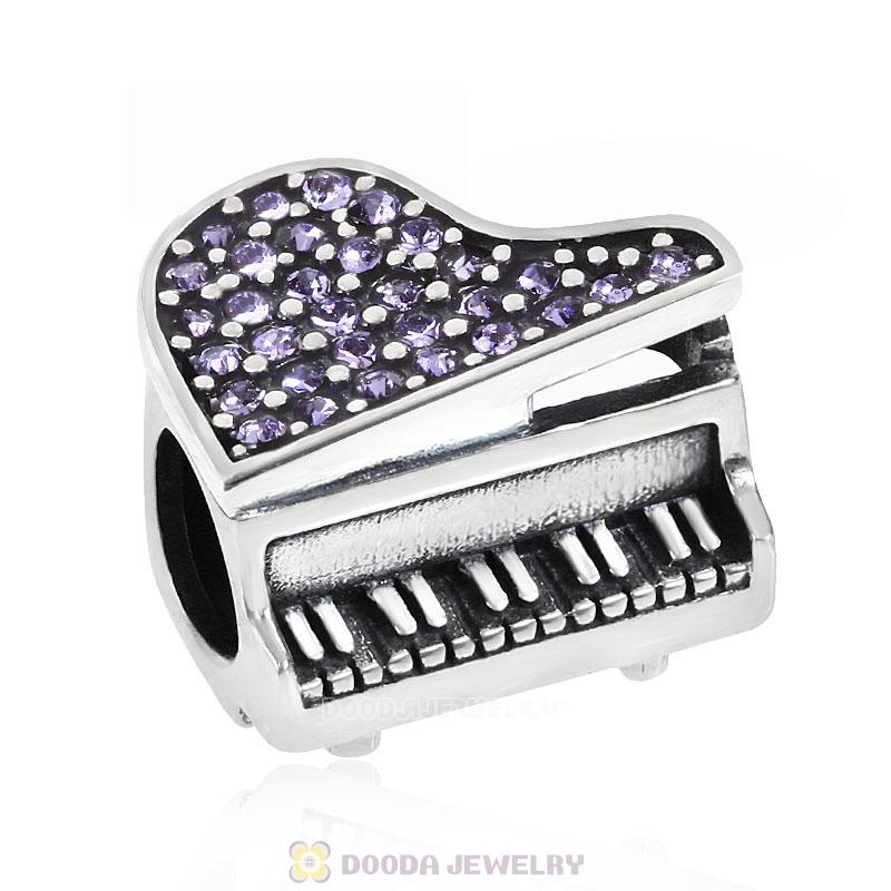 Music Piano Charm with Tanzanite Austrian Crystal