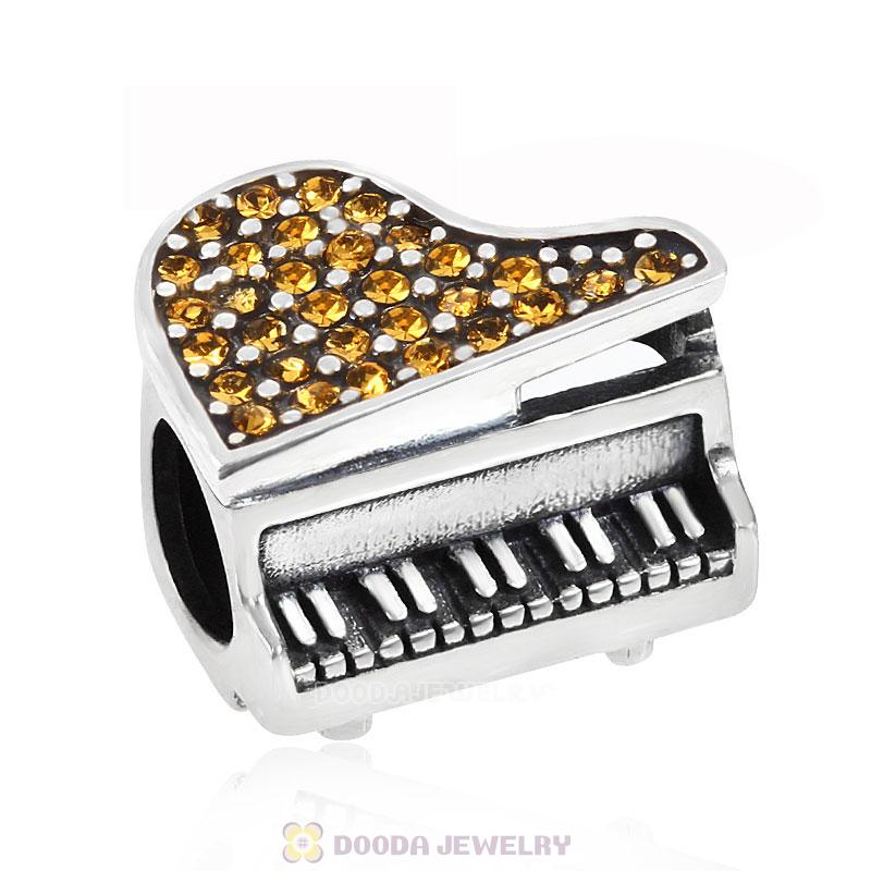Music Piano Charm with Topaz Austrian Crystal