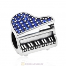 Music Piano Charm with Sapphire Austrian Crystal