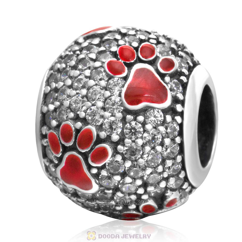 Red Dog Pawprint Charm with Clear CZ