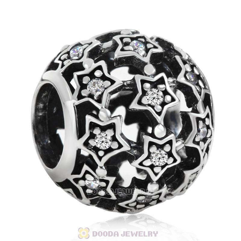 Shimmering Star Charm Bead with Clear CZ