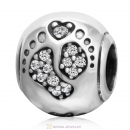 Love Baby Footprint Charm with CZ